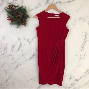 Calvin Klein Faux Wrap Jersey Dress